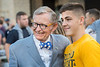 WVU President E. Gordon Gee talks with  Freshman Kenny Lavelle Electrical Engineering from Latrobe, PA. Incoming Freshmen students make new friends and enjoy the night at Puskar stadium Monday Night Lights August 14, 2017. Photo Greg Ellis