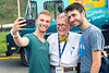 WVU President E. Gordon Gee makes a selfie with (L to R) Inigo Martin Moal Spanish major, Bilibo Spain, Nicola Casagranda world lanuages Greuto Italy at Fall Fest, August 15, 2017. Photo Greg Ellis