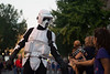 A stormtrooper stops to greet fans at the 2017 Homecoming Parade.