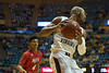Jevon Carter prepares to drive the ball down the court after receiving the inbound pass Nov. 30, 2017 at the WVU Coliseum in Morgantown, WV. The New Jersey Institute of Technology's Highlanders fell to the Mountaineers with a final score of 102-69. Photo Caroline Nicholas