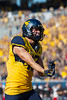 WVU reciever David Sills scores a touchdown and celebrates against Texas Tech at the 2017 Homecoming Game.