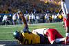 Kyzir White triumphantly holds the football after catching a touchdown pass against the Texas Tech Red Raiders at Milan Puskar Stadium in Morgantown Oct. 14, 2017. The Mountaineers came from behind in the second half to win in the second biggest comeback in WVU football history.