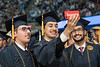 WVU Eberly College Graduates from Kuwait Ali Alshamali; Ali Alterki and Mohammed Alterki; Biology majors make a selfie on their graduation day at the Eberly College Bachelor Commencement May 13, 2018. Photo Greg Ellis