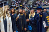 WVU President E. Gordon Gee greets graduates of the Eberly College on the floor of the WVU Coliseum at the Eberly College  Bachelor Commencement May 13, 2018. Photo Greg Ellis