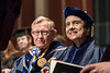 "Eve Lee daughter of Maestro Everett Lee, the first African American to conduct a major Broadway production, ""On the Town,"" with an integrated cast and all-white pit orchestra in 1945 looks on with WVU President E. Gordon Gee after receiving her father's  Honorary Doctorate Degree from the WVU College of Creative Arts May 5, 2018. Photo Greg Ellis"