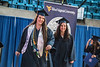 Jordin Wilcher and her mother Susan Miley, both recieving degrees this semester return to their seats after crossing the platform during the Davis College of Agriculture, Natural Resrouces and Design Commencement in the Coliseum May 11th, 2018.  Photo Brian Persinger