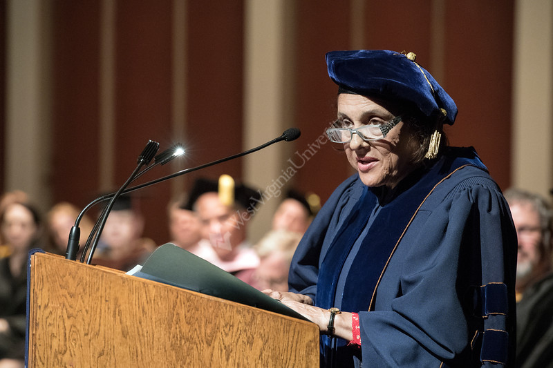 Eve Lee daughter of Maestro Everett Lee, addresses graduates friends and family at the CAC graduation May11, 2018. Photo Greg Ellis