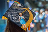 WVU Eberly College graduate Tara Kirby Psychology expresses herself using Mortarboard art at the Eberly College Bachelor Commencement May 13; 2018. Photo Greg Ellis