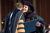WVU College Of Law Graduate Carly A. Cordaro hugs WVU President E. Gordon Gee at the College of Law Graduation CAC, Evansdale campus May 11, 2018. Photo Greg Ellis