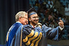 WVU graduate Nupur Gupta Petroleum Engineering  shares a smile and selfie with WVU President E. Gordon Gee at the Benjamin M. Statler College of Engineering and Mineral Resources Commencement May 12, 2018. Photo Greg Ellis