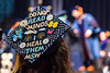 WVU Eberly Graduate student Alicia Caie Master Of Social Work expresses herself via her mortarboard  at the Eberly College Graduate Commencement May 13, 2018. Photo Greg Ellis