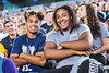 Incoming Freshmen students  (L to R) Peau Halahingano Accounting New Martinsville WV and Tyshelm Thompson Mechanical Engraining NYC make new friends and enjoy the night at  Monday Night Lights Puskar stadium August 14, 2017. Photo Greg Ellis