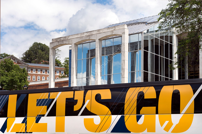 Let's Go! Bluebird sky's and the downtown campus shines as the WVU tour bus departs the Mountain Lair during New Student Orientation (NSO), June 8, 2017. Photo Greg Ellis