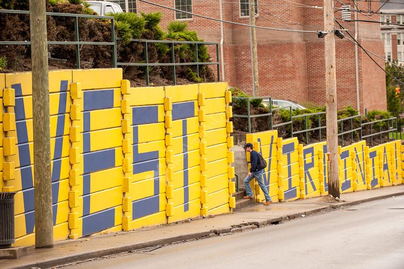 WVU wall on University Ave