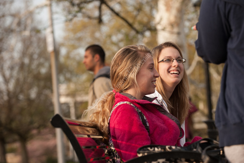 Girls socializing on campus