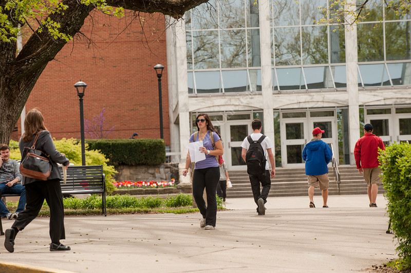 Students on the downtown campus