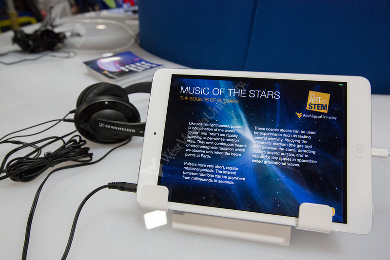 iPad apps in the radio astronomy display featuring sounds of pulsars.