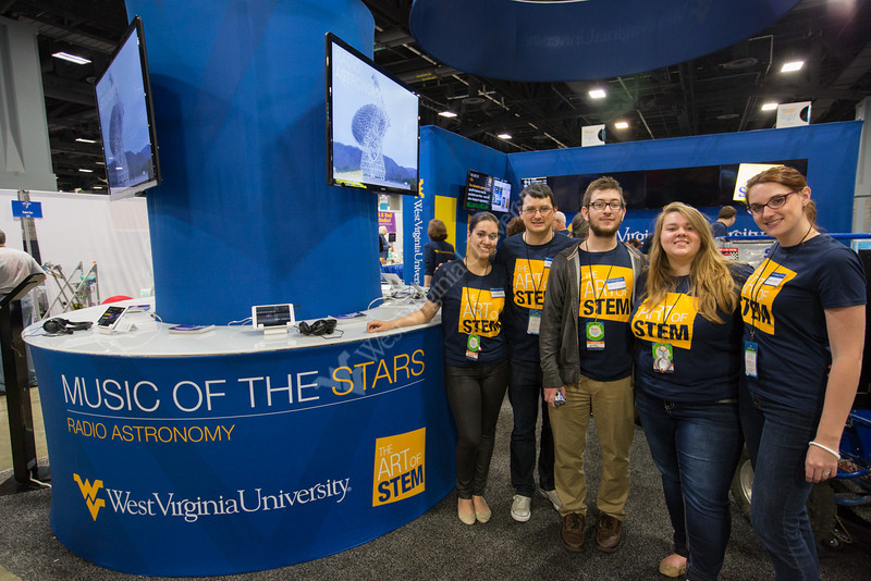 WVU radio astronomy students, from L-R: Rossina Miller, Pete Gentile, Logan Shamberger, Tessa Maynard, and Megan Jones.