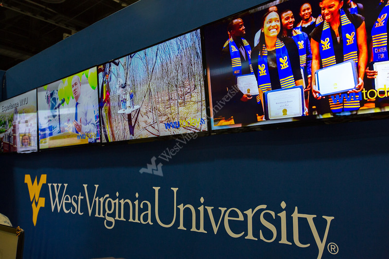 A video array in the booth displayed a wide range of content about the exhibit and WVU.