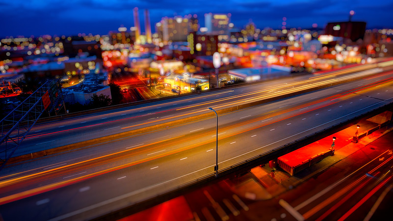 Spokane, Washington and Freeway at Night