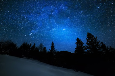 Milky Way in sky full of stars. Winter mountain landscape in night.