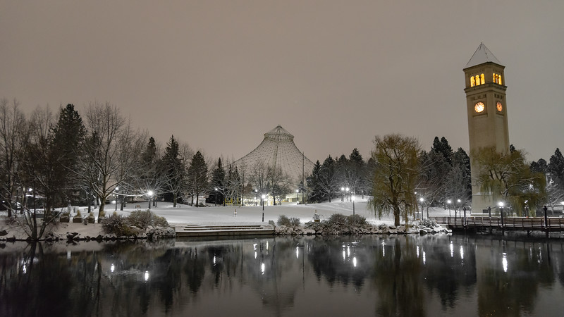The Pavilion and clocktower in Spokane's iconic and historic Riverfront Park