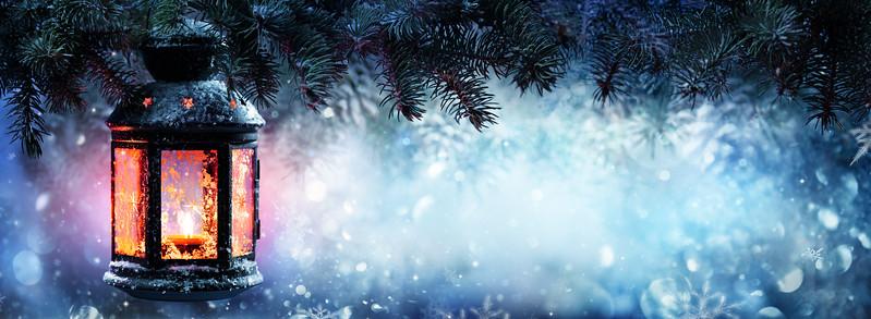 Christmas Lantern On Snow With Fir Branch