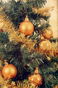 yellow decorated christmas tree