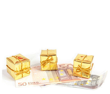 money concept with euro banknotes for gifts