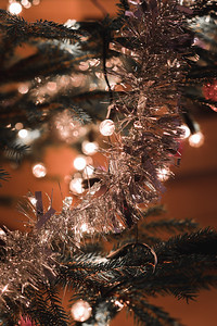 Christmas decoration on tree with light