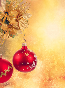 golden christmas balls background