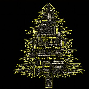 Merry Christmas word cloud in tree shape