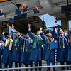 WVU graduates toss their caps to celebrate Commencement, May 15, 2021. Photo: Geoff Coyle