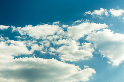 White clouds on evening blue sky