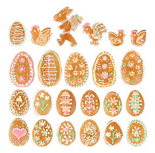 collection of easter egg ginger bread on white