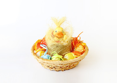 easter decoration with small duck and eggs
