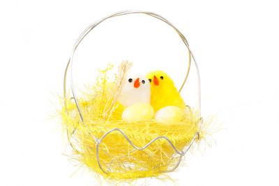 yellow easter decoration with birds