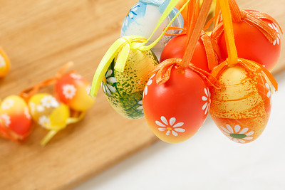 hanged bright color easter eggs