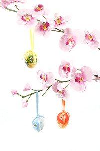 hanged bright color easter eggs with bows on spring flower