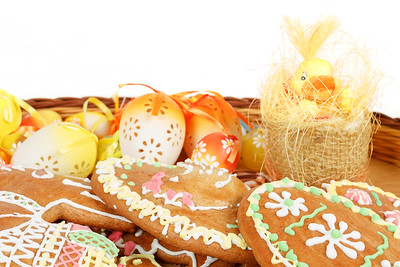 collection of easter ginger breads and eggs