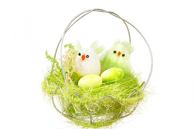 green easter decoration with birds