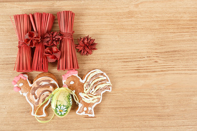 Easter ginger breads,egg and painted egg