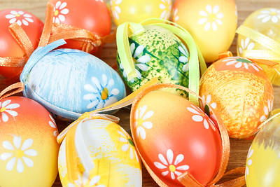 Bright color easter eggs with bows