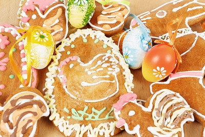 collection of easter gingerbreads and eggs