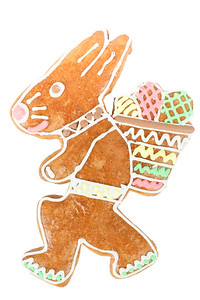 easter bunny gingerbread on white