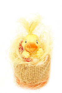 yellow easter decoration with small duck