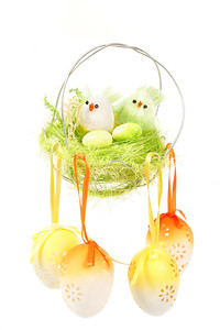 Easter decoration with colored eggs and birds
