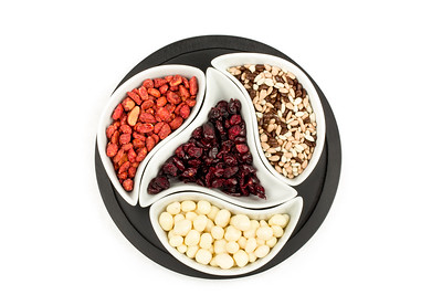 almonds in chocolate, cranberries and walnuts