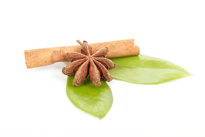 Star Anise, cinnamon and and green leave on white