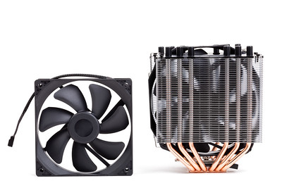 CPU Cooler with heat-pipes on white